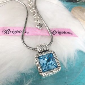 Brighton silver & blue crystal necklace & earrings